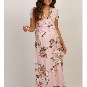 PINKBLUSH Pink Floral Maternity/Nursing Maxi Dress